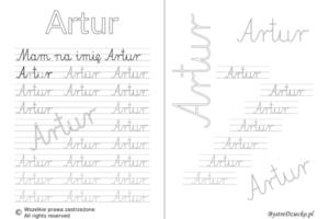 Karty pracy z imionami - nauka pisania imion dla dzieci - Artur