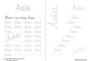 Karty pracy z imionami - nauka pisania imion dla dzieci - Asia