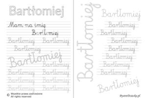 Karty pracy z imionami - nauka pisania imion dla dzieci - Bartłomiej