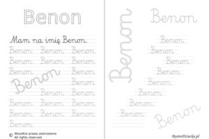 Karty pracy z imionami - nauka pisania imion dla dzieci - Benon