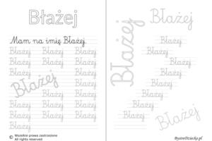 Karty pracy z imionami - nauka pisania imion dla dzieci - Błażej