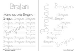 Karty pracy z imionami - nauka pisania imion dla dzieci - Brajan
