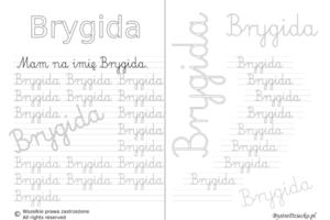 Karty pracy z imionami - nauka pisania imion dla dzieci - Brygida