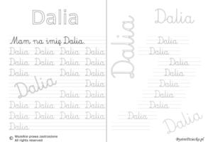 Karty pracy z imionami - nauka pisania imion dla dzieci - Dalia