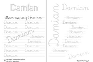 Karty pracy z imionami - nauka pisania imion dla dzieci - Damian