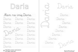 Karty pracy z imionami - nauka pisania imion dla dzieci - Daria