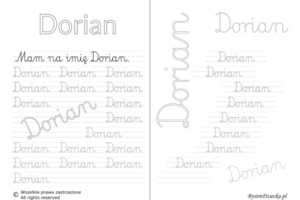 Karty pracy z imionami - nauka pisania imion dla dzieci - Dorian