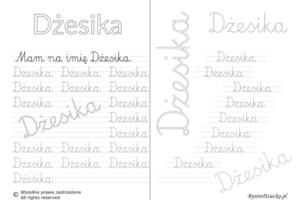 Karty pracy z imionami - nauka pisania imion dla dzieci - Dżesika
