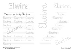 Karty pracy z imionami - nauka pisania imion dla dzieci - Elwira