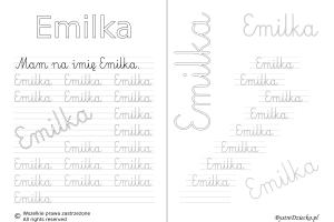 Karty pracy z imionami - nauka pisania imion dla dzieci - Emilka