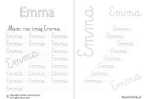 Karty pracy z imionami - nauka pisania imion dla dzieci - Emma