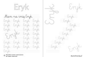 Karty pracy z imionami - nauka pisania imion dla dzieci - Eryk