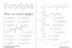 Karty pracy z imionami - nauka pisania imion dla dzieci - Eurydyka