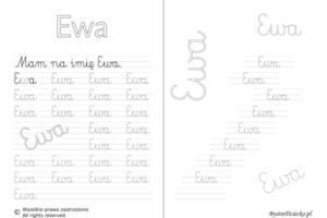 Karty pracy z imionami - nauka pisania imion dla dzieci - Ewa