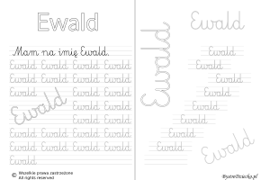 Karty pracy z imionami - nauka pisania imion dla dzieci - Ewald