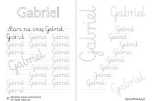 Karty pracy z imionami - nauka pisania imion dla dzieci - Gabriel