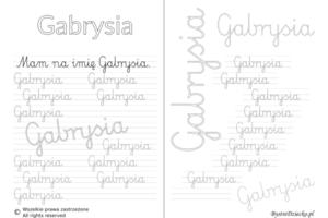 Karty pracy z imionami - nauka pisania imion dla dzieci - Gabrysia