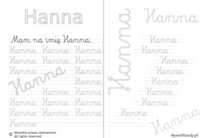 Karty pracy z imionami - nauka pisania imion dla dzieci - Hanna
