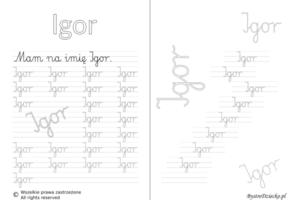 Karty pracy z imionami - nauka pisania imion dla dzieci - Igor
