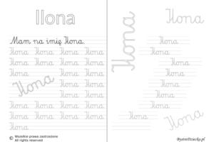 Karty pracy z imionami - nauka pisania imion dla dzieci - Ilona