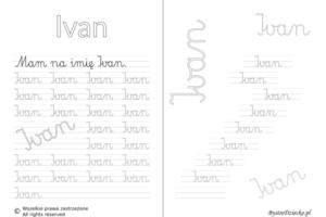 Karty pracy z imionami - nauka pisania imion dla dzieci - Ivan