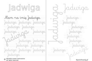 Karty pracy z imionami - nauka pisania imion dla dzieci - Jadwiga