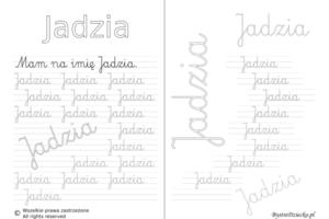 Karty pracy z imionami - nauka pisania imion dla dzieci - Jadzia