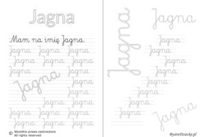Karty pracy z imionami - nauka pisania imion dla dzieci - Jagna