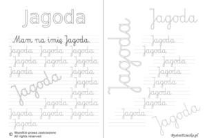Karty pracy z imionami - nauka pisania imion dla dzieci - Jagoda