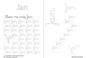 Karty pracy z imionami - nauka pisania imion dla dzieci - Jan