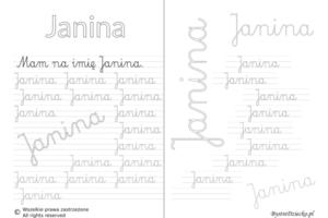 Karty pracy z imionami - nauka pisania imion dla dzieci - Janina