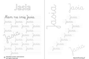 Karty pracy z imionami - nauka pisania imion dla dzieci - Jasia