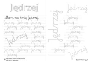 Karty pracy z imionami - nauka pisania imion dla dzieci - Jędrzej