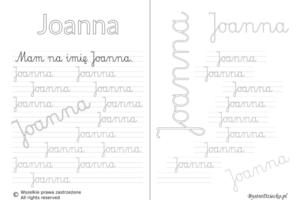 Karty pracy z imionami - nauka pisania imion dla dzieci - Joanna