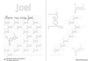Karty pracy z imionami - nauka pisania imion dla dzieci - Joel