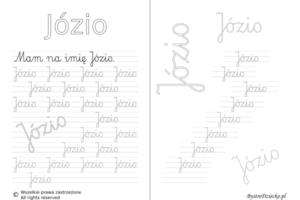 Karty pracy z imionami - nauka pisania imion dla dzieci - Józio