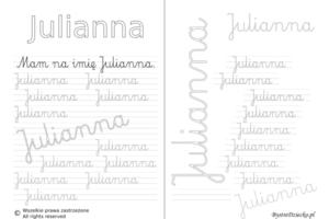 Karty pracy z imionami - nauka pisania imion dla dzieci - Julianna