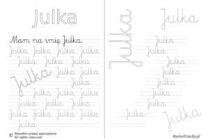 Karty pracy z imionami - nauka pisania imion dla dzieci - Julka
