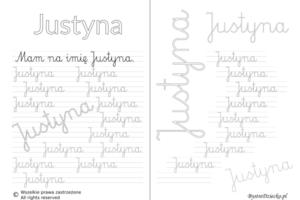Karty pracy z imionami - nauka pisania imion dla dzieci - Justyna