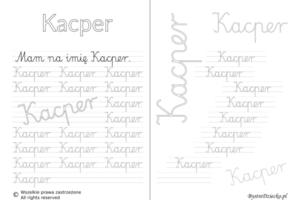 Karty pracy z imionami - nauka pisania imion dla dzieci - Kacper