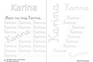 Karty pracy z imionami - nauka pisania imion dla dzieci - Karina