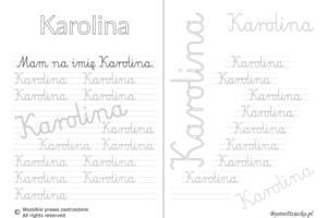 Karty pracy z imionami - nauka pisania imion dla dzieci - Karolina