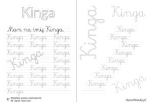 Karty pracy z imionami - nauka pisania imion dla dzieci - Kinga