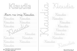 Karty pracy z imionami - nauka pisania imion dla dzieci - Klaudia