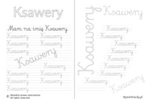 Karty pracy z imionami - nauka pisania imion dla dzieci - Ksawery