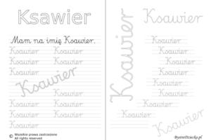Karty pracy z imionami - nauka pisania imion dla dzieci - Ksawier