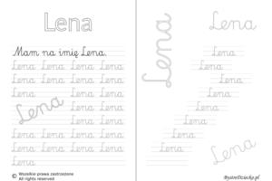 Karty pracy z imionami - nauka pisania imion dla dzieci - Lena