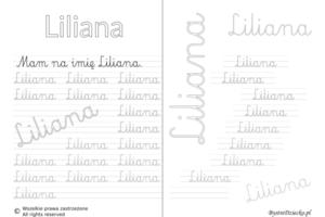 Karty pracy z imionami - nauka pisania imion dla dzieci - Liliana