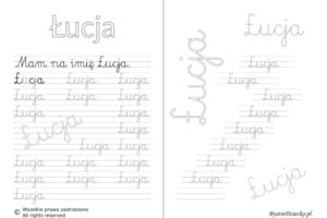 Karty pracy z imionami - nauka pisania imion dla dzieci - Łucja