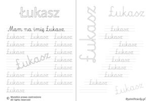 Karty pracy z imionami - nauka pisania imion dla dzieci - Łukasz